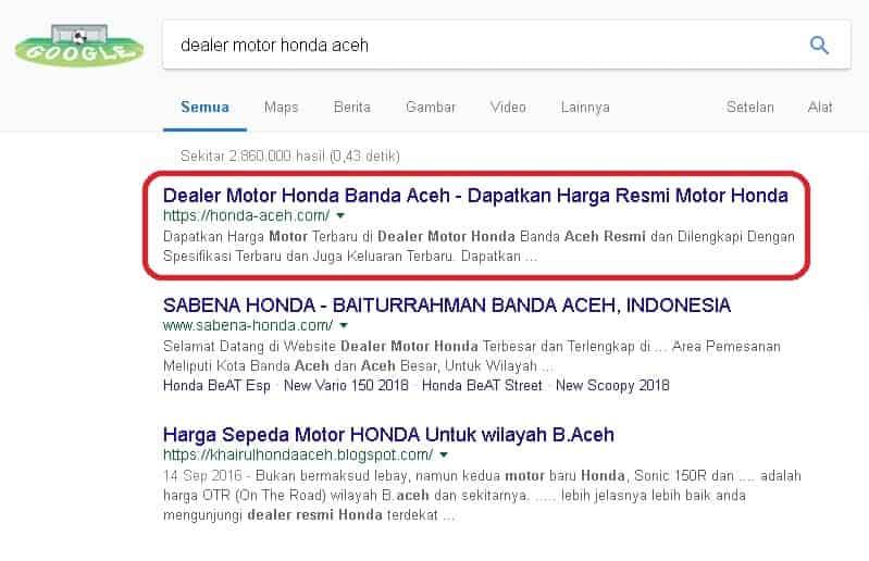 Klien yang sukses di Jasa SEO Website dengan keyword dealer motor honda aceh