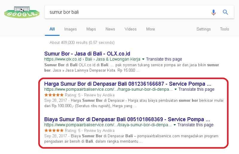Klien yang sukses di Jasa SEO Website dengan keyword sumur bor bali dan service pompa air bali