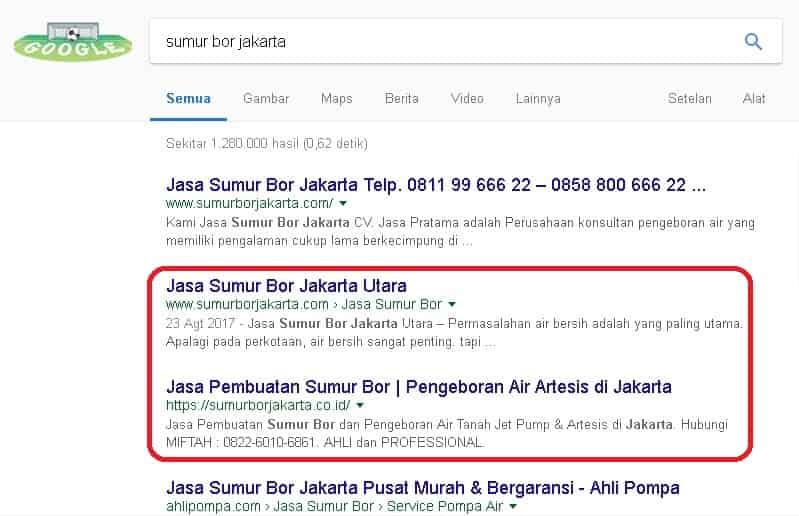 Klien yang sukses di Jasa SEO Website dengan keyword sumur bor jakarta