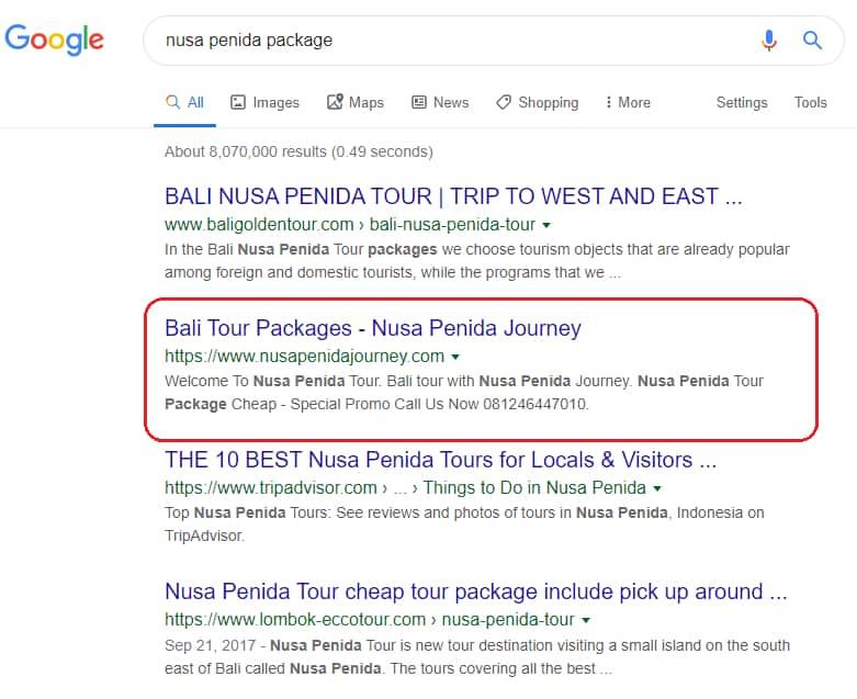 "Website Nusapenidajourney.com yang memesan Paket Jasa SEO Website dengan Kata Kunci ""Nusa Penida Package""."