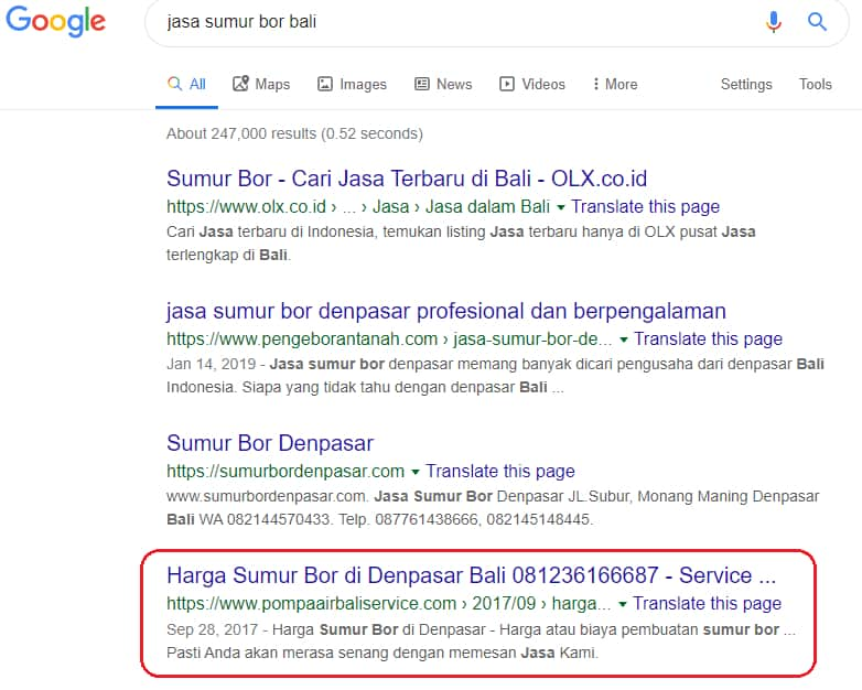 "Website Pompaairbaliservice.com memesan kata kunci: ""Jasa sumur bor bali"""