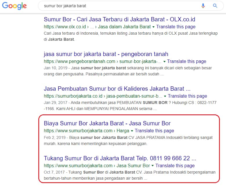 "Website Sumurborjakarta.com memesan kata kunci: ""Sumur bor Jakarta Barat"""