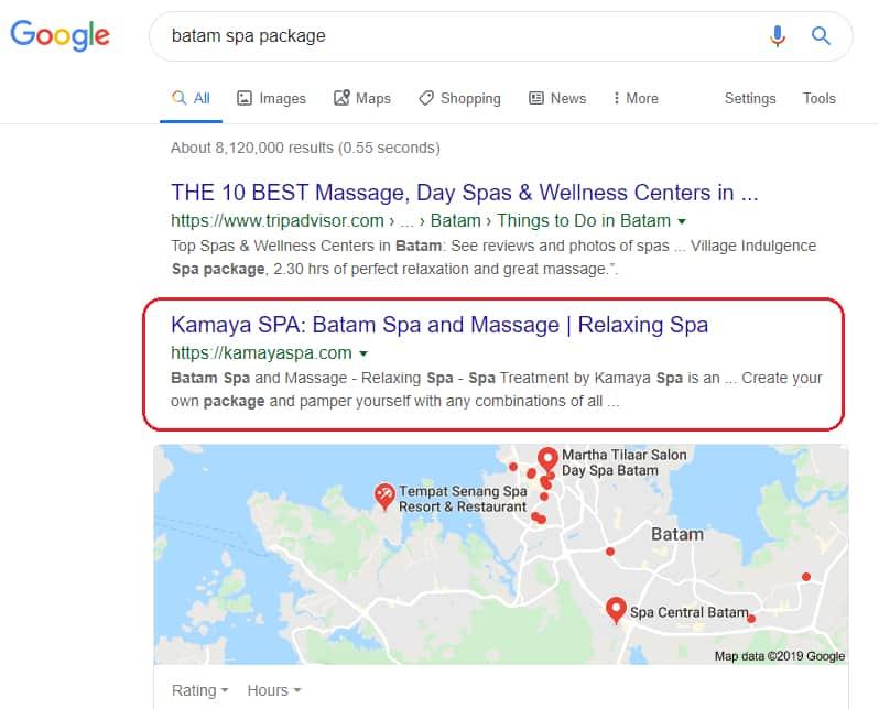 "Website Kamayaspa.com memesan dengan kata kunci: ""Batam spa package"""