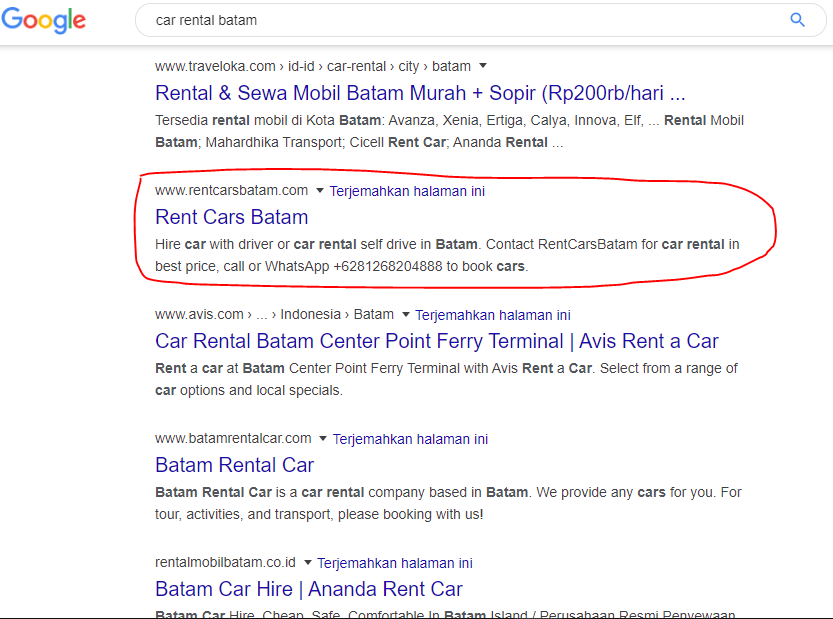 "Website Rentcarsbatam.com memesan kata kunci: ""Car Rental Batam"""